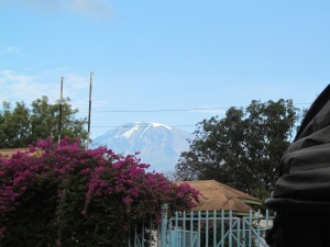 The view of Mount Kilimanjaro from downtown Moshi.