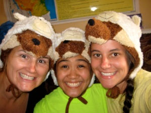 "Me, Kristine and Tracy modeling our ""wolf in sheep's clothing"" hats that we bought in Mwanjelwa. (Where else?)"