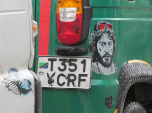 A Serpico  themed bajaj.  Believe it or not, I've seen more than one.  I love Tanzania!