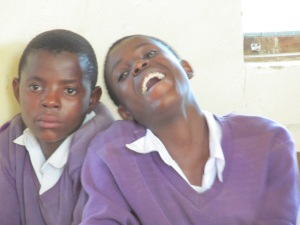 A couple of my Form IIA girls.  The girl who is laughing is another really good student.