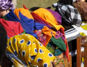 A view of the mamas' head scarves.  One of my favorite things about Tanzania is that everyone wears bright colors and they mix and match patterns.  It's such a boost on a blah day during the rainy season in the village.