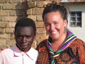 Meesh with Laurence, one of the village kids she worked with during her service.