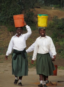 Some of the Mary Ryan Foundation girls carrying water.  I can carry a basket with a few things in it on my head but I haven't yet mastered the bucket full of water.