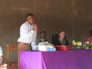 The mkuu and a few of the teachers spoke during the ceremony.  This is my counterpart, Mr. Komba, saying a few words.