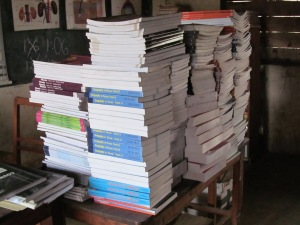 "It took me about a week to get this stack of newly purchased books into the ""catalog"".  A drop in the proverbial bucket."