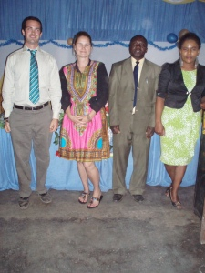 From left: Gabe, me (in a dress my fundi Rita made me), my mkuu, Mr. Babuleghe and Madame Ombene, one of the teachers and one of the best dressed ladies in Ilembo.