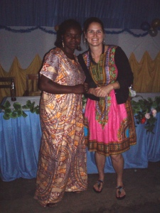Madame Chaula and I.  She was kind to me from the very first day when I came to the school on my site visit.  She is a sweet and beautiful lady.